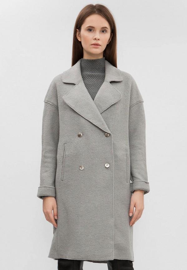женское пальто preppy, серое