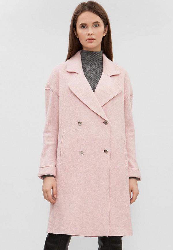 женское пальто preppy, розовое