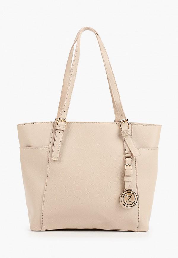 женская сумка с ручками zarina, бежевая