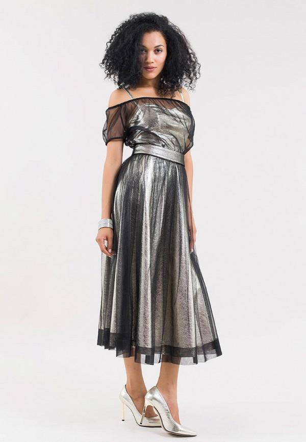 женское вечерние платье maxa, серебряное