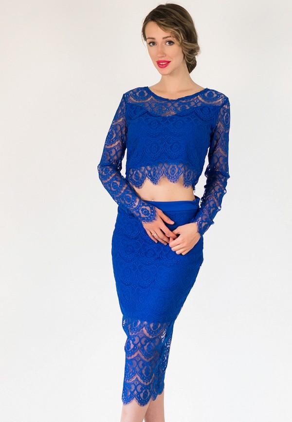 женский костюм подіум, синий