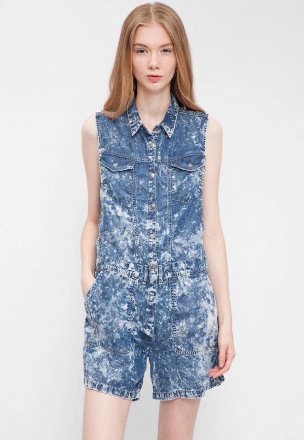 женский джинсовые комбинезон pepe jeans london, синий