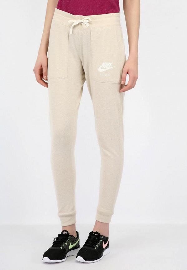 женские спортивные спортивные брюки nike, бежевые