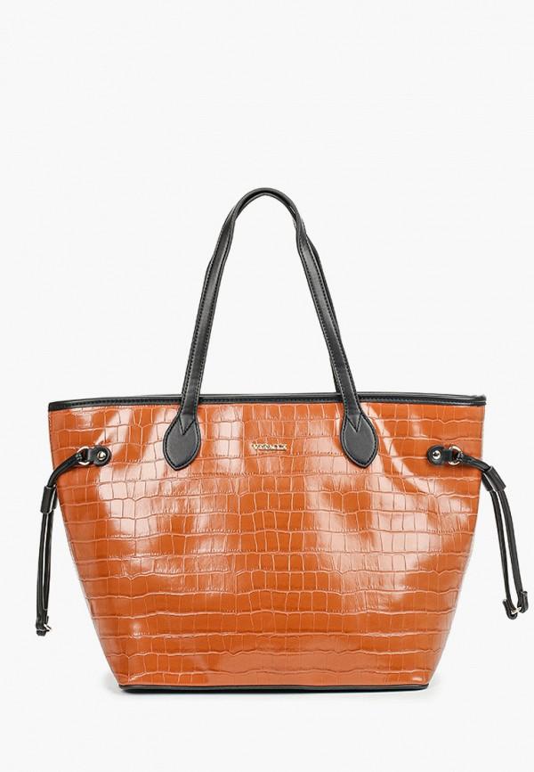 женская сумка-шоперы vitacci, коричневая