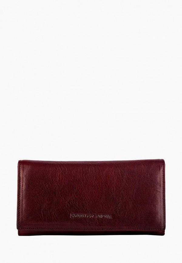 женский кошелёк smith&canova, бордовый