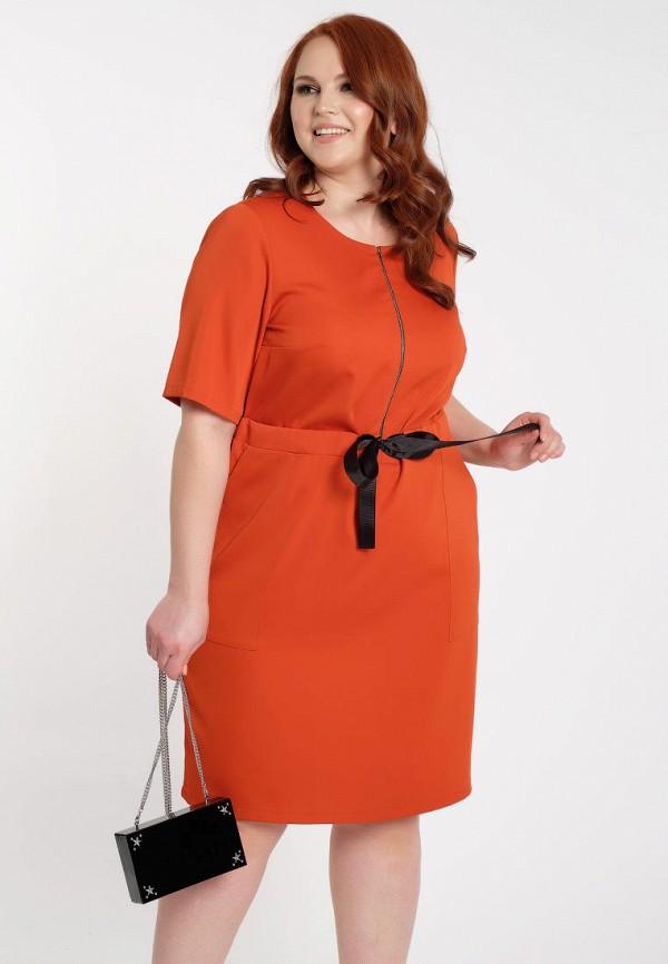 женское платье миди dora, оранжевое