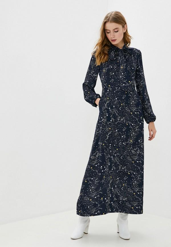 женское платье миди francesco donni, синее