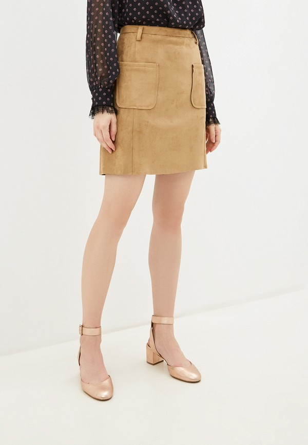 женская юбка-трапеции moda di lusso, бежевая