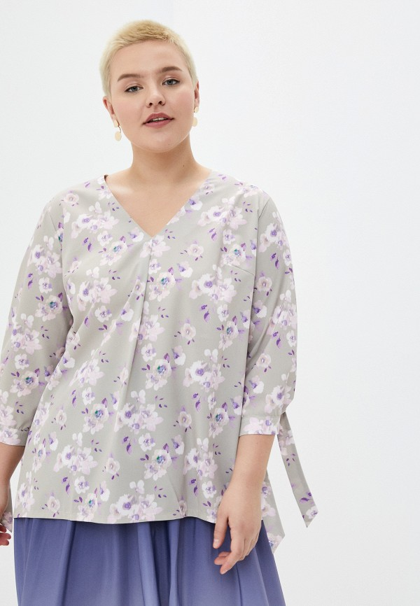 женская блузка с длинным рукавом le monique, серая