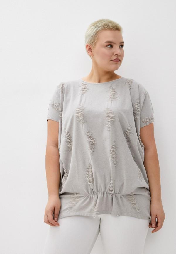 женская блузка с коротким рукавом мадам т, серая