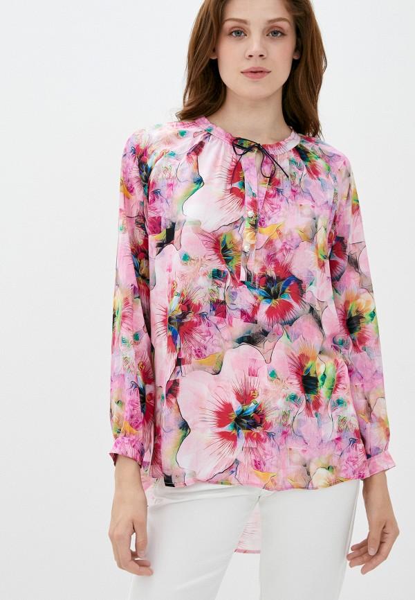 женская блузка с длинным рукавом мадам т, розовая