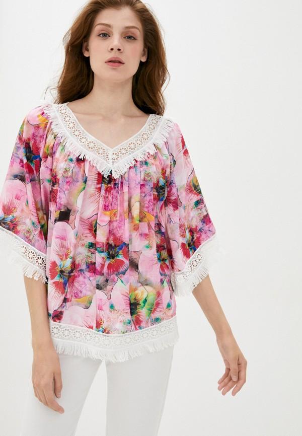 женская блузка с коротким рукавом мадам т, розовая