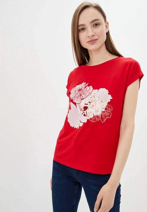 женская футболка ricamare, красная