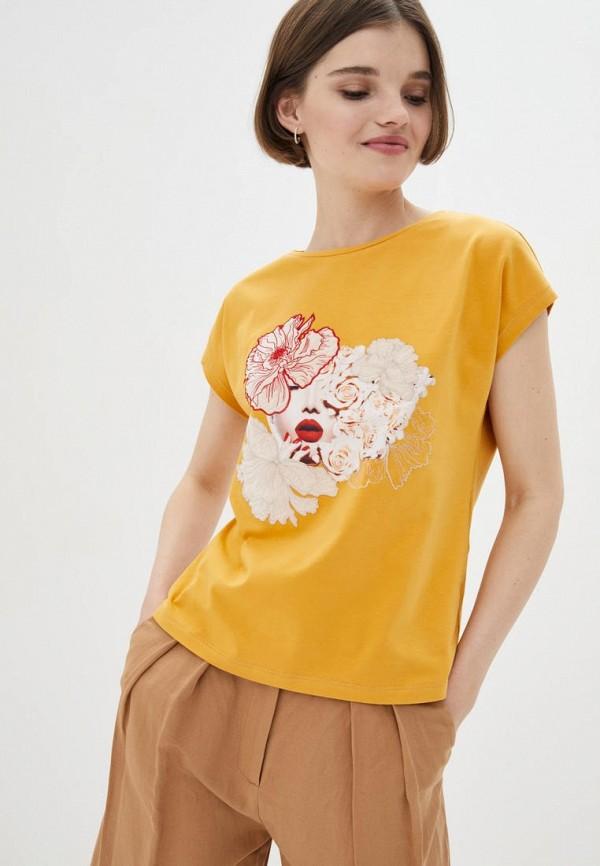 женская футболка ricamare, желтая