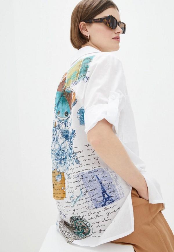 женская рубашка с коротким рукавом ricamare, белая