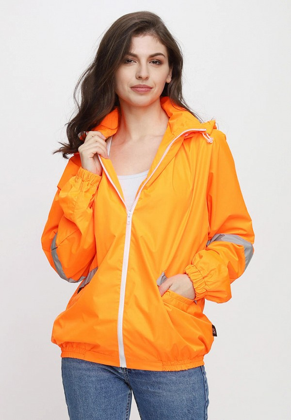 женская ветровка one.two, оранжевая