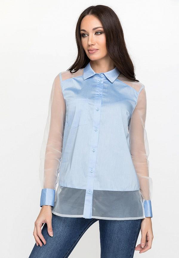 женская блузка с длинным рукавом gloss, голубая