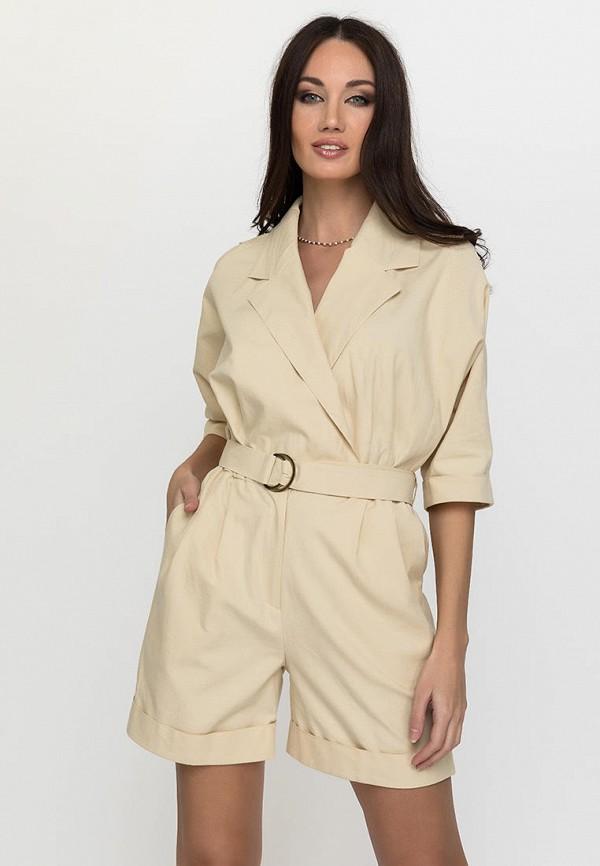 женский комбинезон с шортами gloss, бежевый