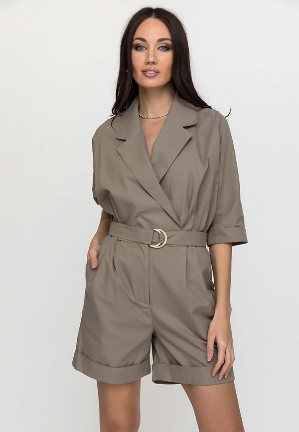 женский комбинезон с шортами gloss, коричневый