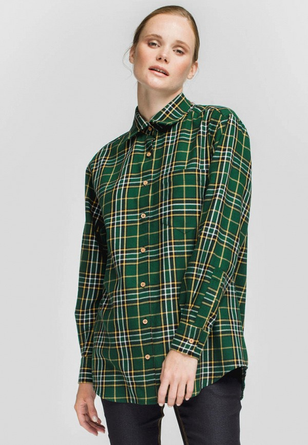 женская рубашка с длинным рукавом monamoon, зеленая