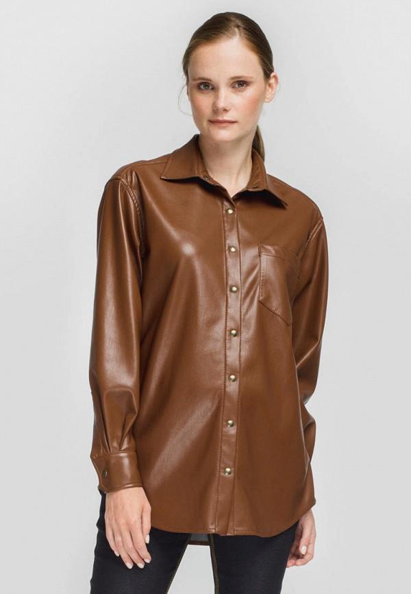 женская рубашка с длинным рукавом monamoon, коричневая