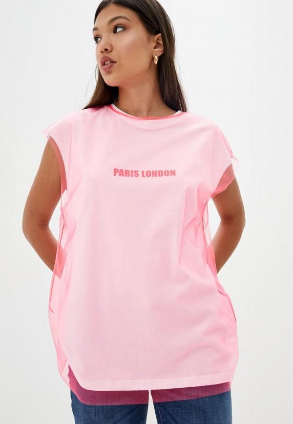 женская футболка frankie morello, розовая