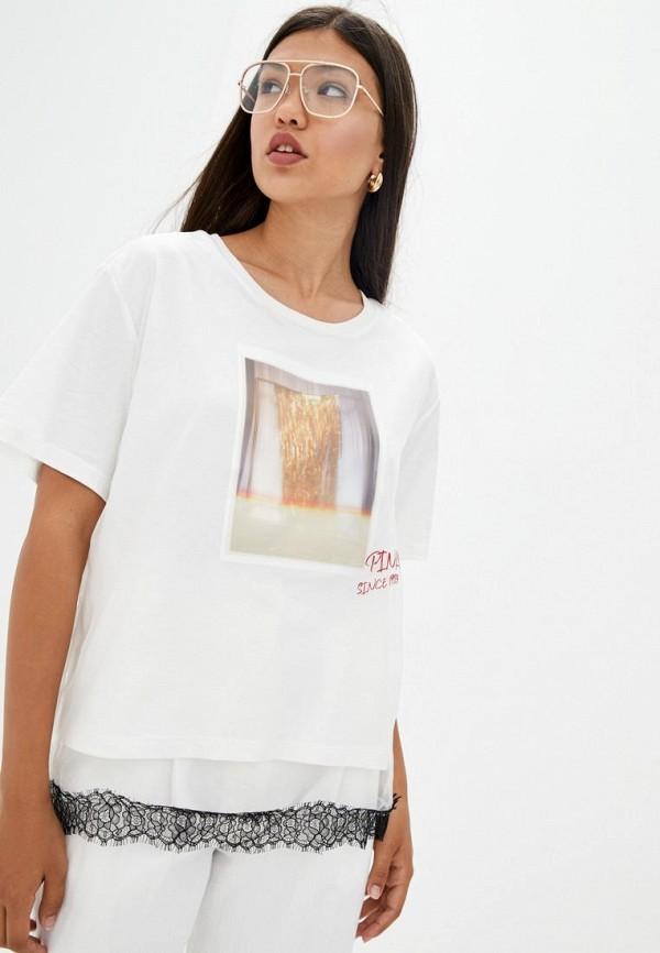 женская футболка pinko, белая