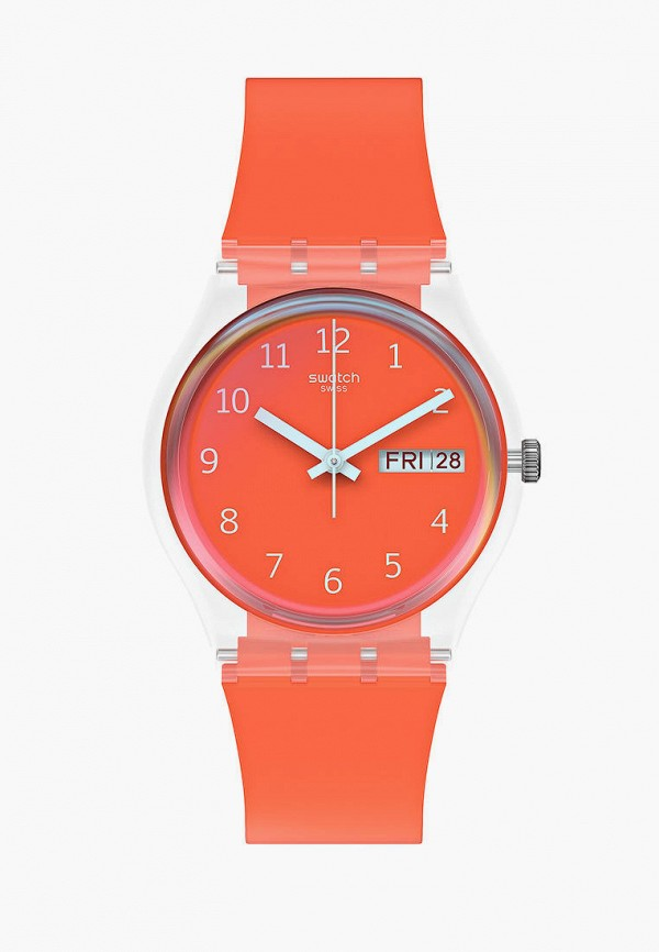 женские часы swatch, оранжевые