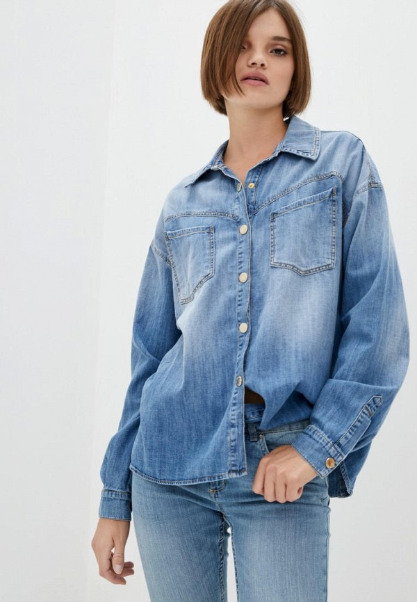 женская джинсовые рубашка pinko, голубая