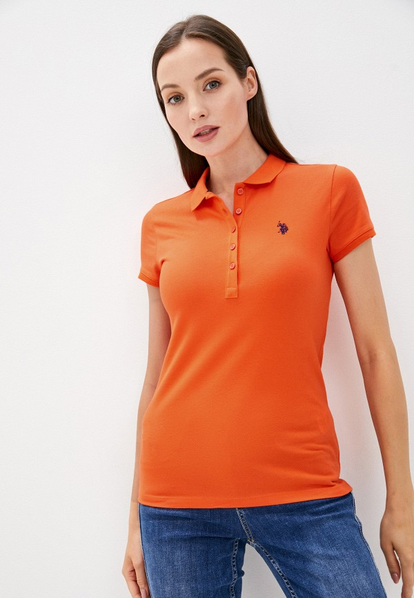 женское поло u.s. polo assn, оранжевое
