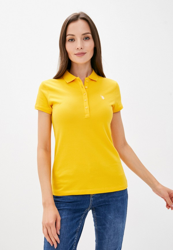 женское поло u.s. polo assn, желтое