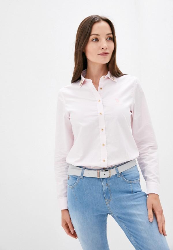 женская рубашка с длинным рукавом u.s. polo assn, розовая