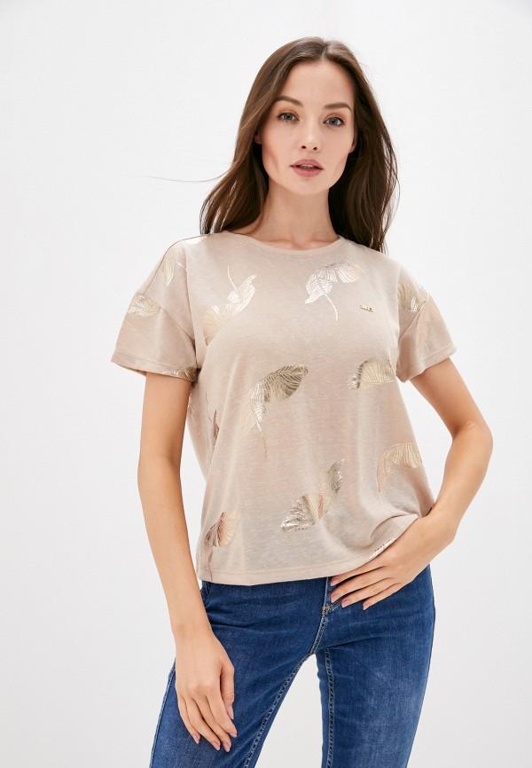 женская футболка u.s. polo assn, бежевая