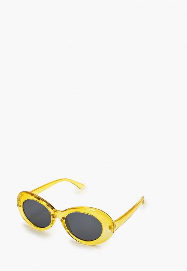 женские круглые солнцезащитные очки красная жара, желтые
