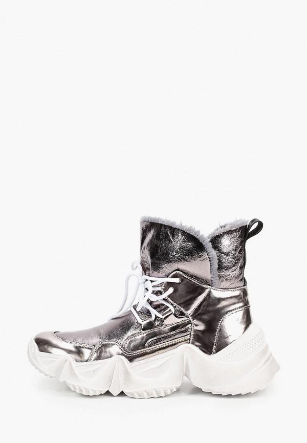 женские высокие ботинки inuovo, серебряные