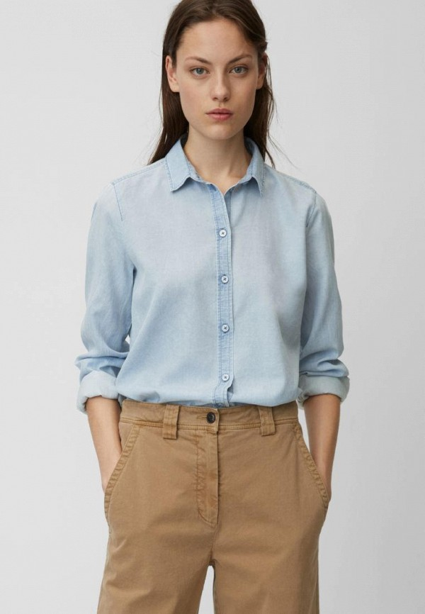 женская рубашка с длинным рукавом marc o'polo, голубая