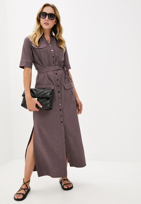 женское платье-рубашки grey cat, коричневое