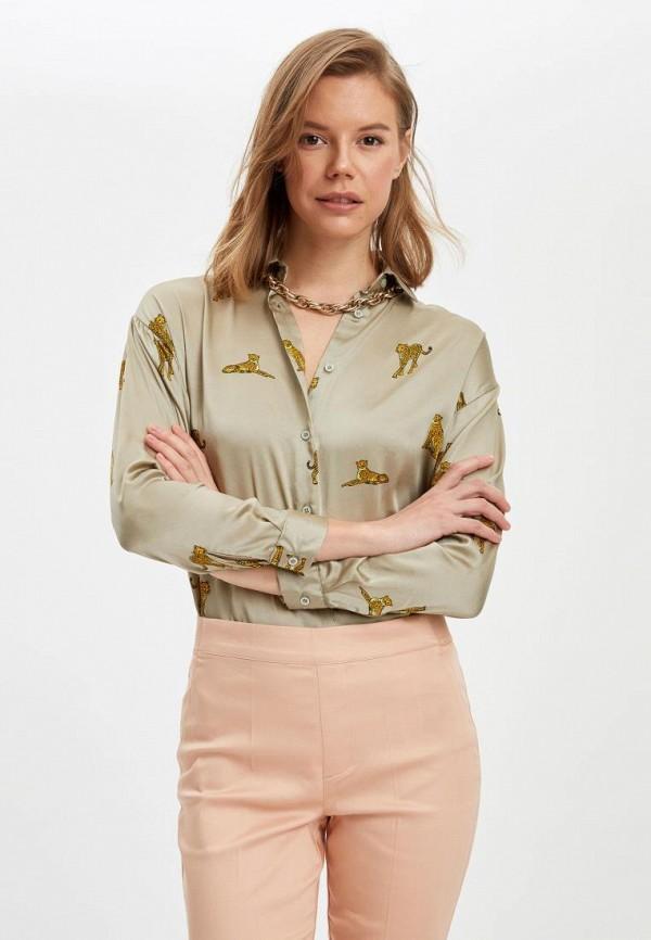 женская рубашка с длинным рукавом defacto, хаки