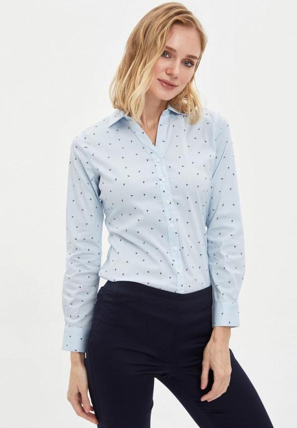 женская рубашка с длинным рукавом defacto, голубая