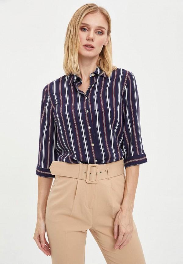 женская рубашка с длинным рукавом defacto, синяя