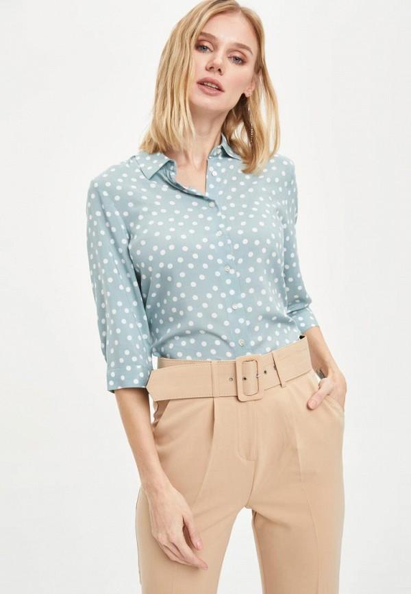 женская рубашка с длинным рукавом defacto, бирюзовая