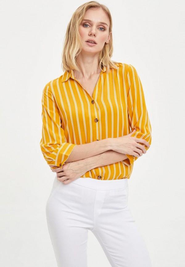 женская рубашка с длинным рукавом defacto, желтая