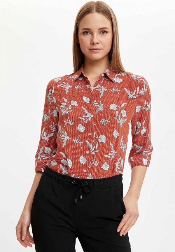 женская рубашка с длинным рукавом defacto, оранжевая