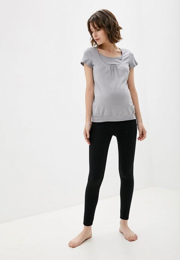 Фото 2 - Женскую футболку 9Месяцев 9Дней серого цвета