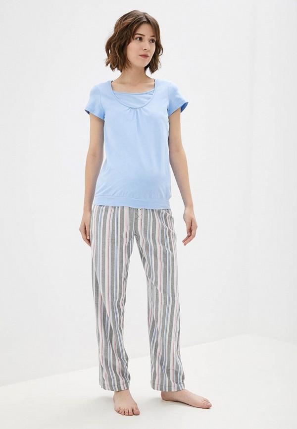 Фото 2 - Женскую футболку 9Месяцев 9Дней голубого цвета