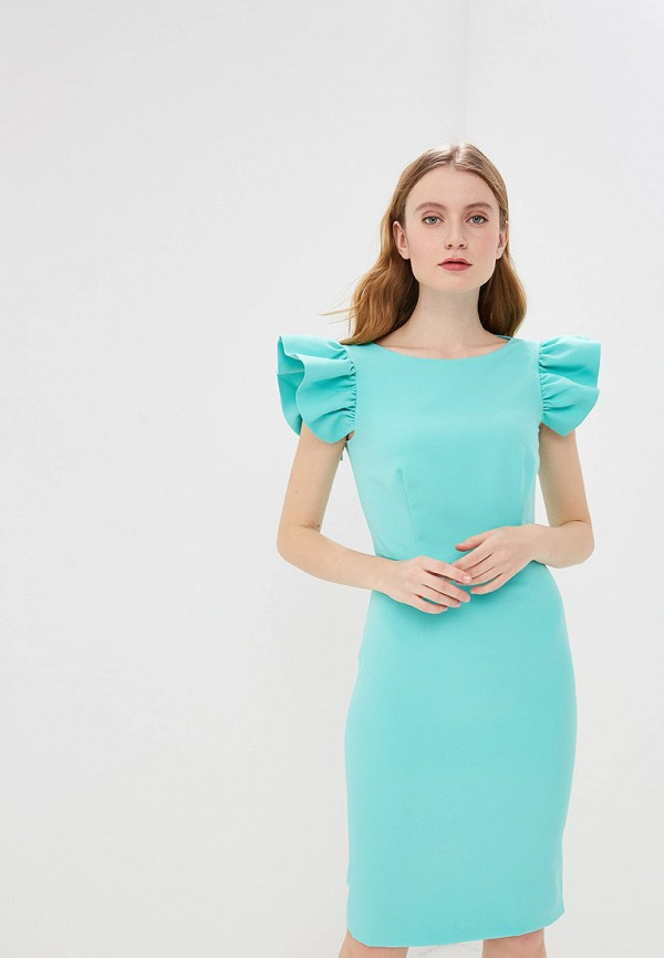 женское платье-футляр self made, зеленое