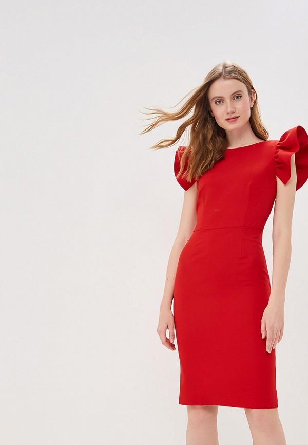 женское платье-футляр self made, красное