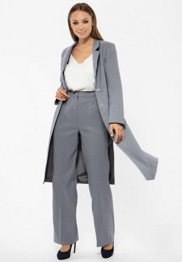 Фото 4 - Женское пальто или плащ Vladi Collection серого цвета