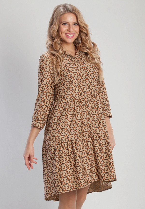 женское повседневные платье olga peltek, коричневое
