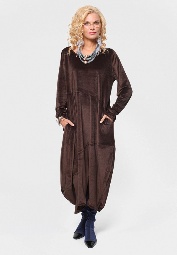 женское платье макси kata binska, коричневое